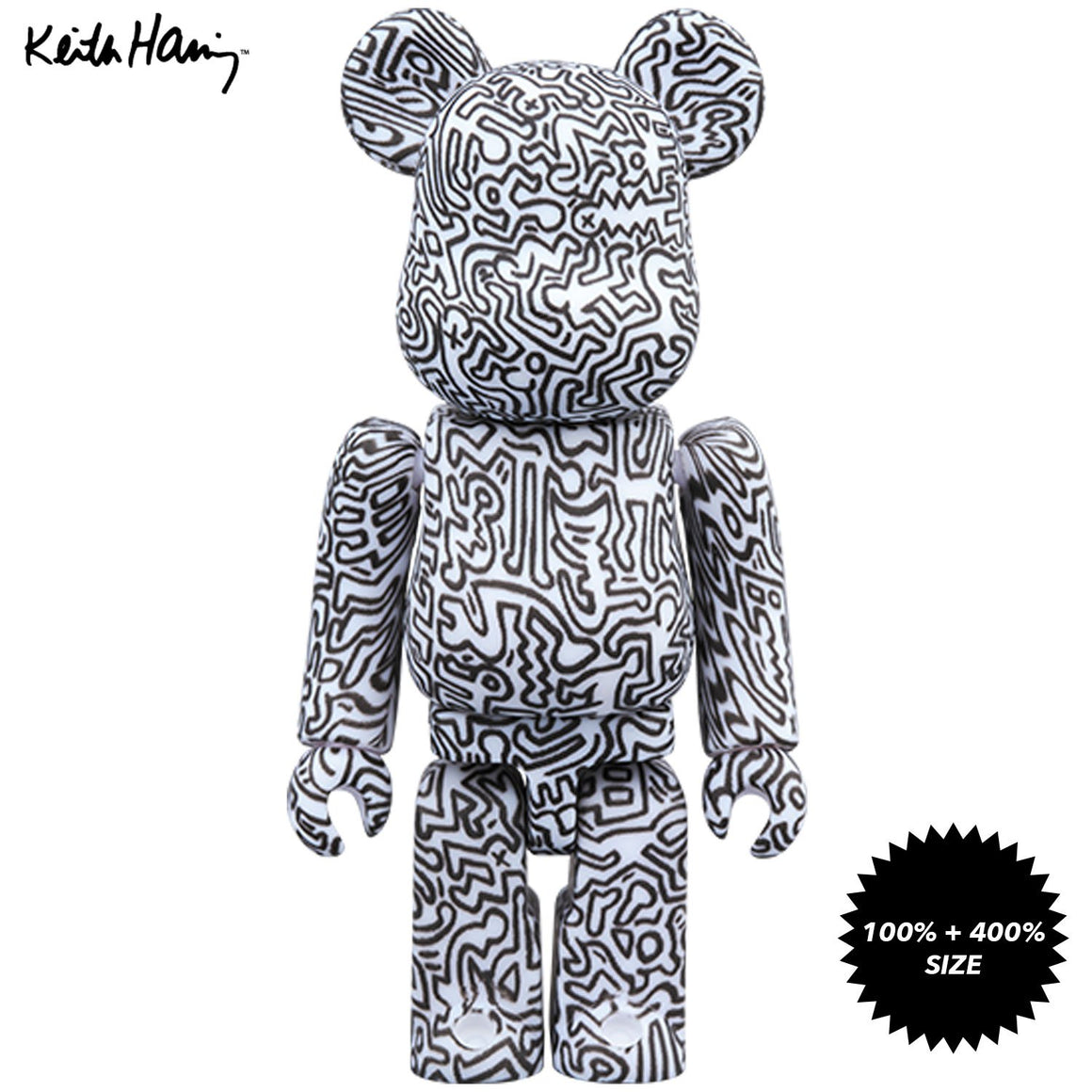 Keith Haring #4 100% + 400% Bearbrick Set by Medicom Toy