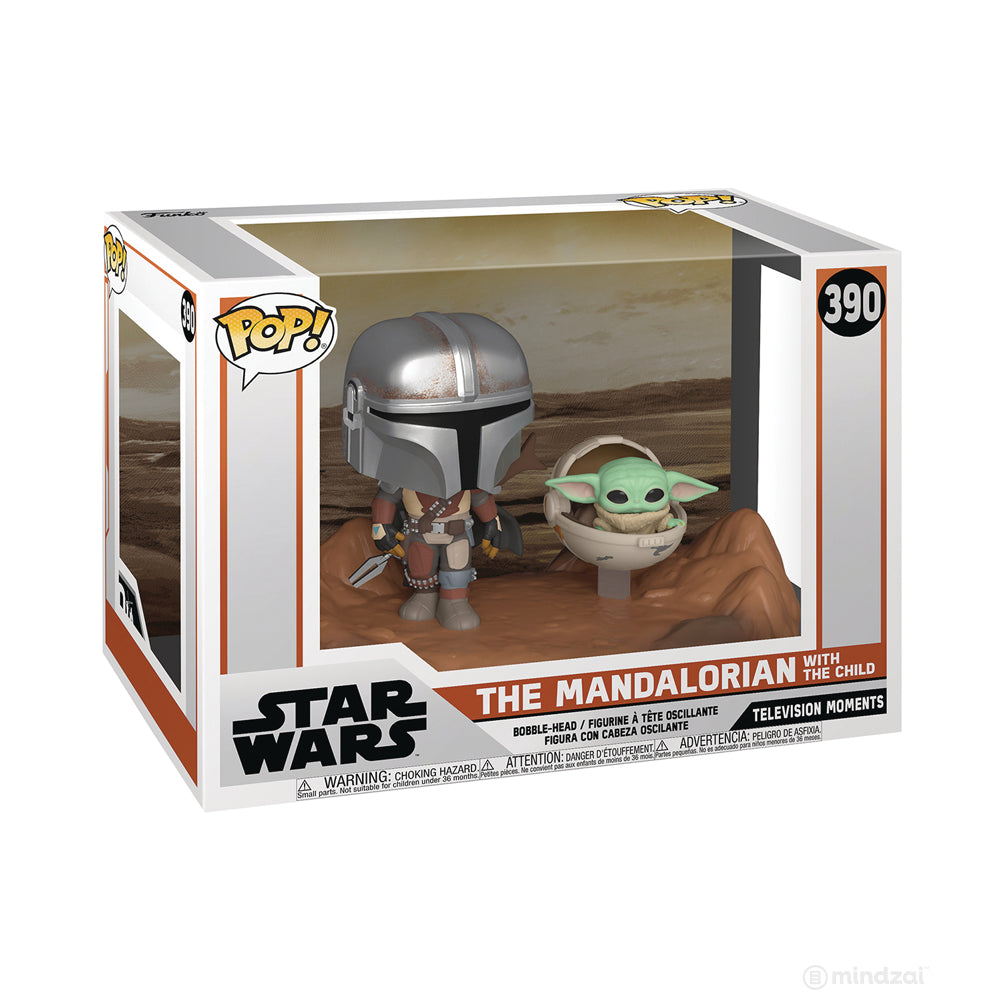 Star Wars Mandalorian: Mandalorian with Child TV Moment POP Figure by Funko