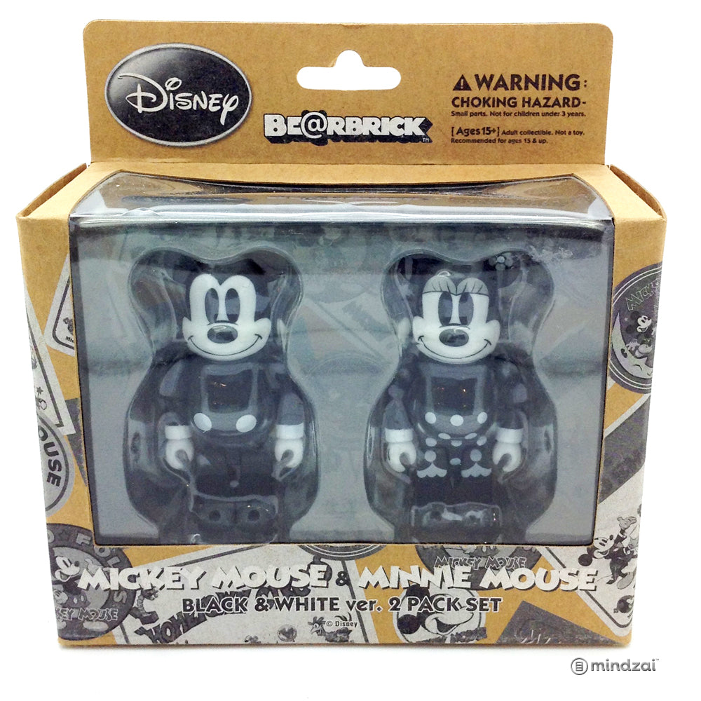 Disney Mickey Mouse and Minnie Mouse Black and White 2-Pack 100% Bearbrick