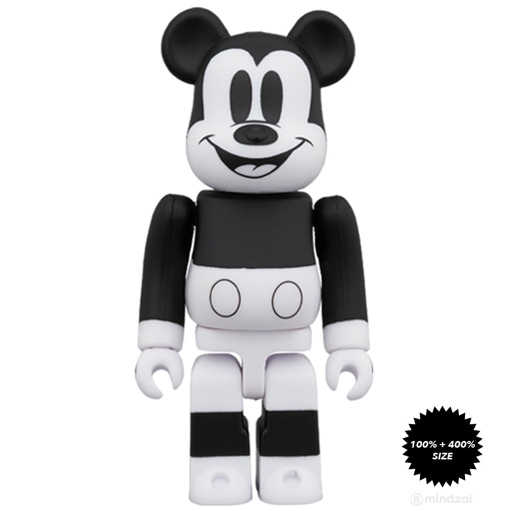 *Pre-order* Mickey Mouse (B&W 2020 Ver.) 100% + 400% Bearbrick Set by Medicom Toy