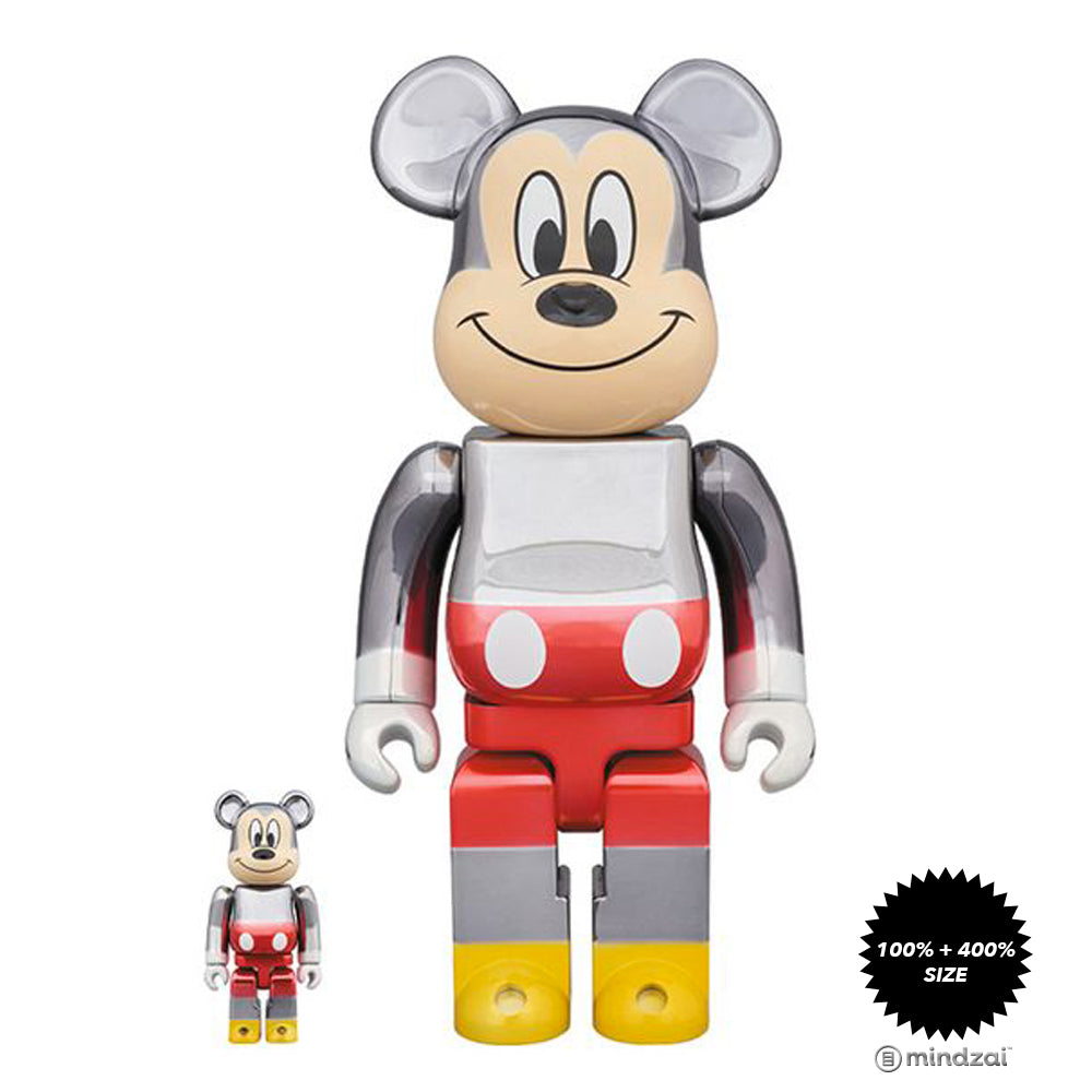 Fragment Design Mickey Mouse Color Ver. 100% + 400% Bearbrick Set by Medicom Toy x Disney