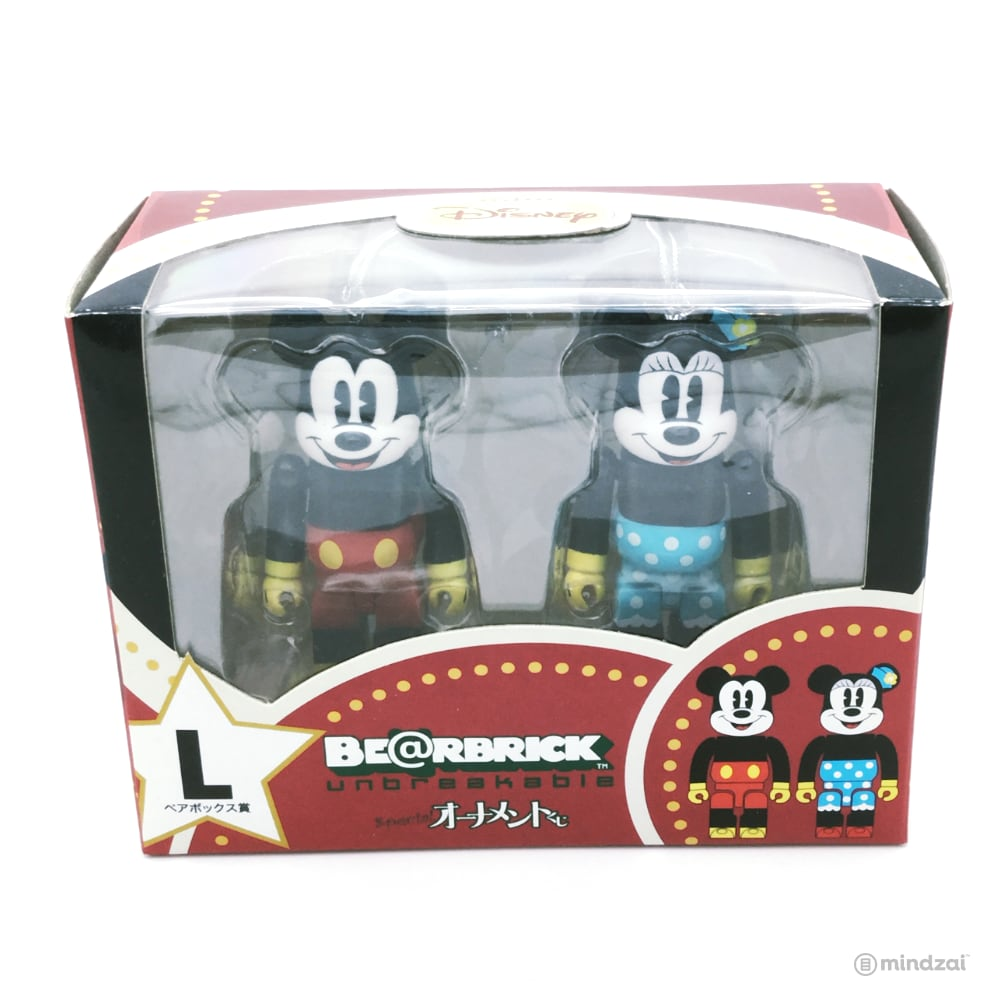 Disney Bearbrick Unbreakable Happy Kuji Set L - Mickey Mouse and Minnie Mouse 2-Pack Pie Cut Version