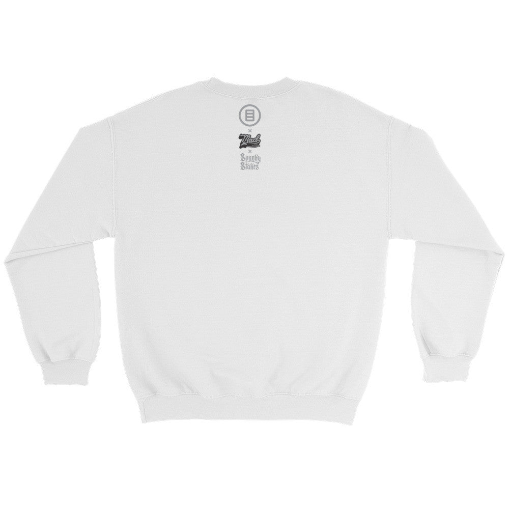 Stroll Crewneck Sweater by Mad Toy Design x Spanky Stokes x Mindzai - White