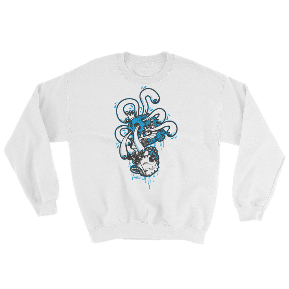 Creative King Crewneck Sweater by Mad Toy Design x Mindzai - White