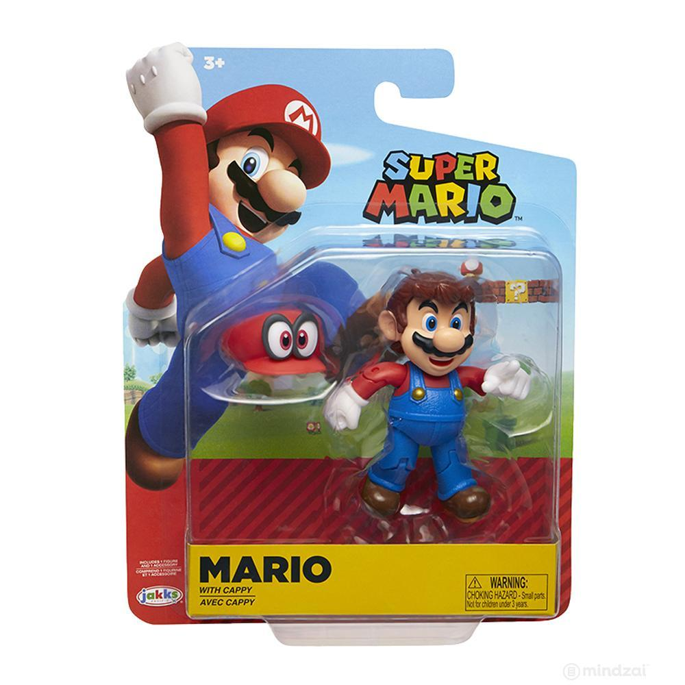 "World of Nintendo: Mario with Cappy 4"" Action Figure by Jakks Pacific"
