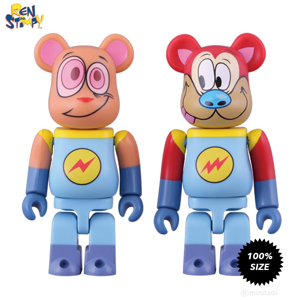 Ren and Stimpy Space Madness 100% Bearbrick 2-Pack by Medicom Toy