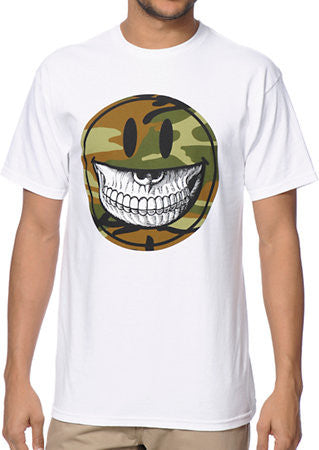 Ron English Camo Grin White T-shirt by Ron English - Mindzai
