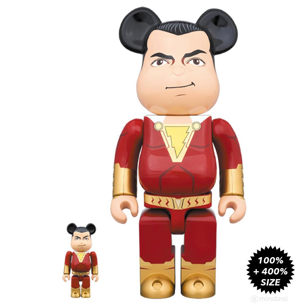 DC Comics Shazam 100% + 400% Bearbrick Set by Medicom - Pre-order