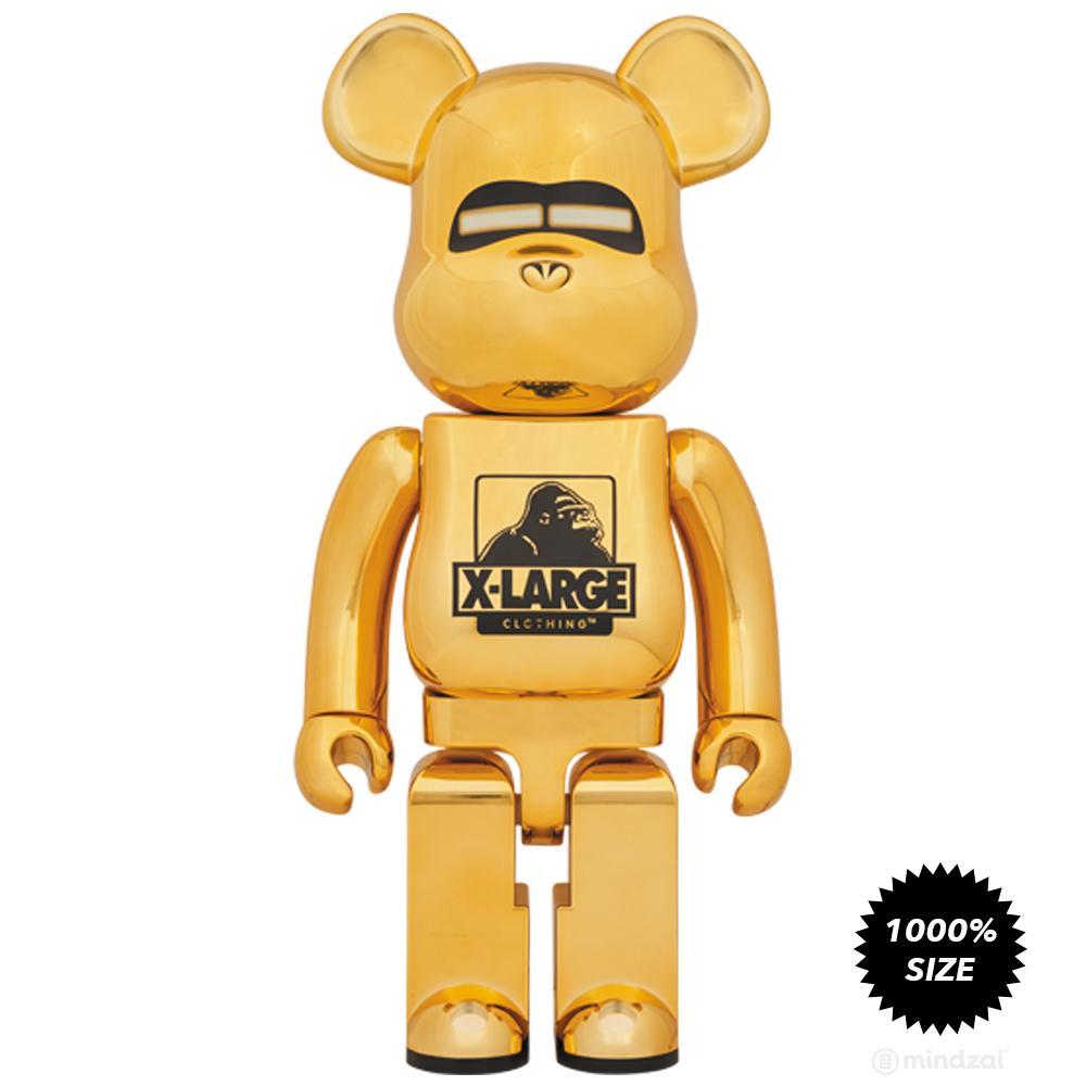 XLarge x Sorayama Chrome Gold 1000% Bearbrick by Medicom Toy - Pre-order