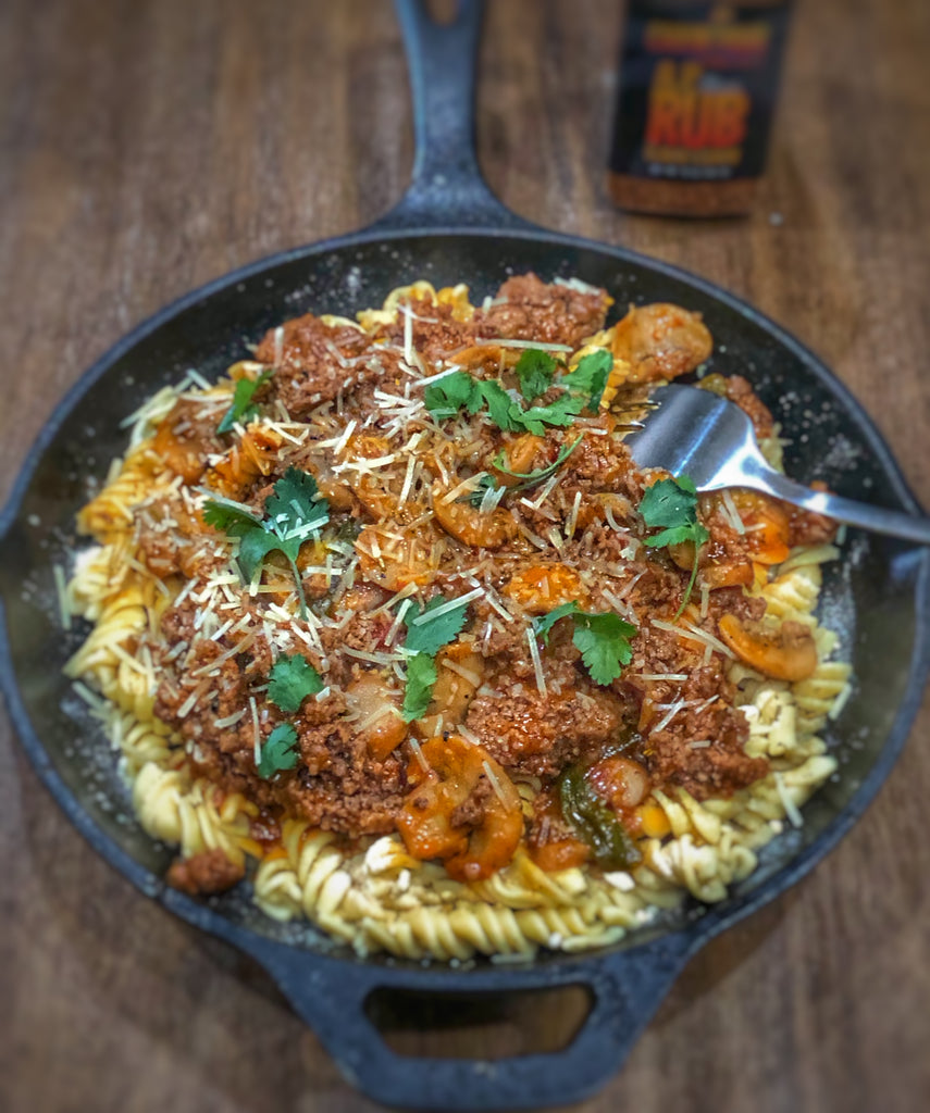 Rotini with ground beef and mushroom sauce