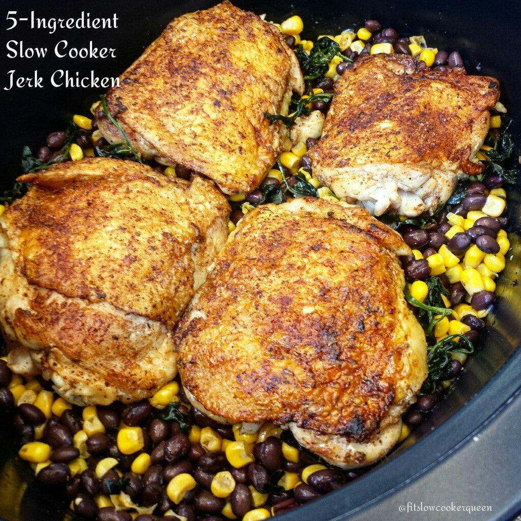 5-INGREDIENT SLOW COOKER JERK CHICKEN by Fit Slow Cooker Queen