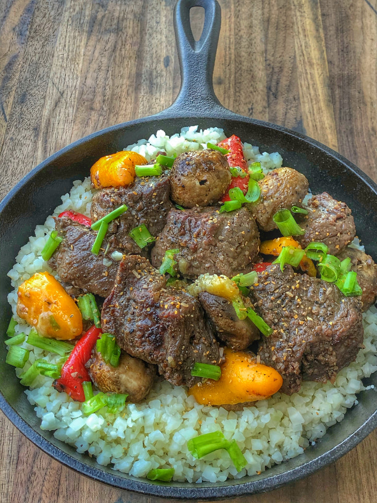Garlic beef and sweet peppers