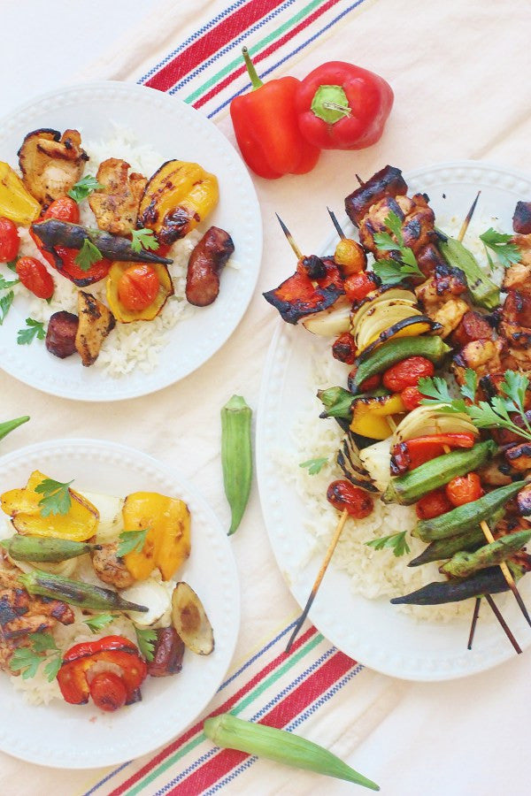 Grilled Chicken and Sausage Gumbo Skewers