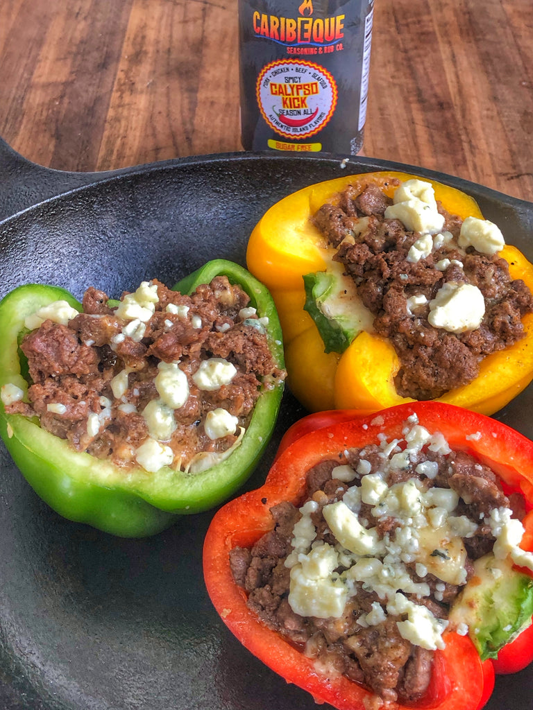 Blue cheese burger stuffed peppers