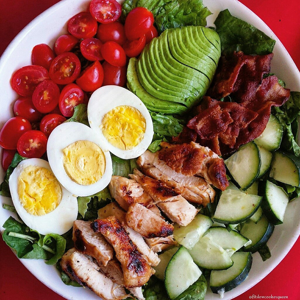 Grilled chicken cobb salad featuring Caribeque's Honey Heat rub