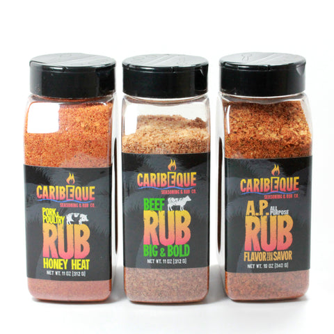 Caribeque Rub Variety Pack (3 Bottles) - Best BBQ Seasoning & Rub Co.