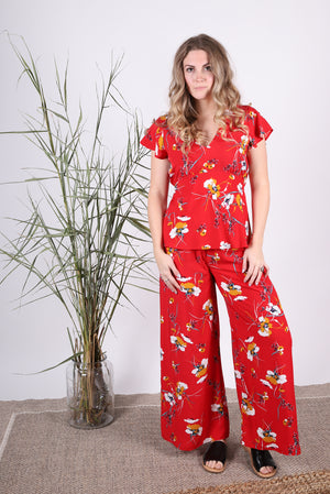 Lois Pant | Painterly Floral Red