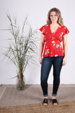 Empire Flutter Top | Painterly Red Floral