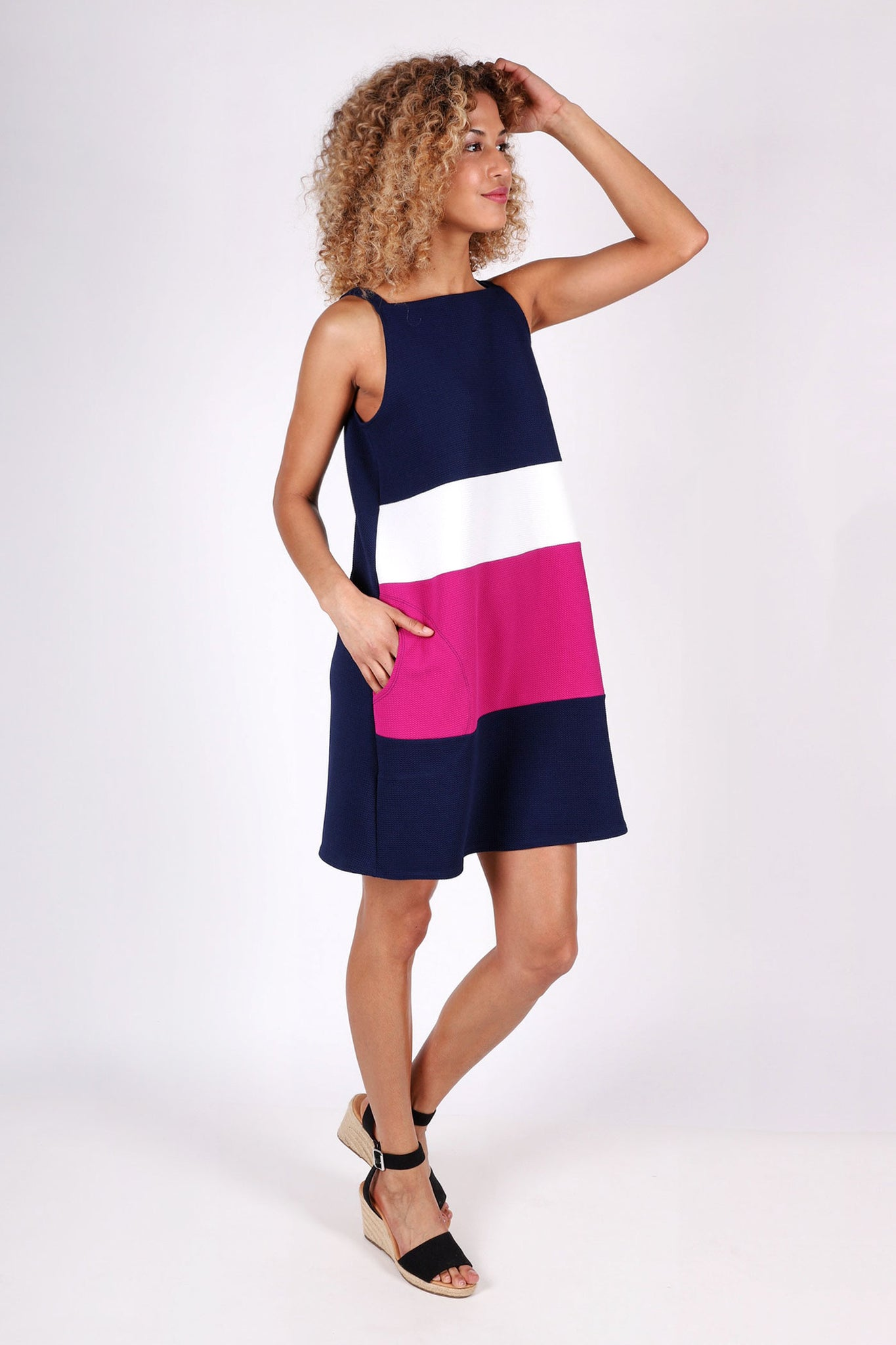 Sadie Color-Blocked Dress | Navy