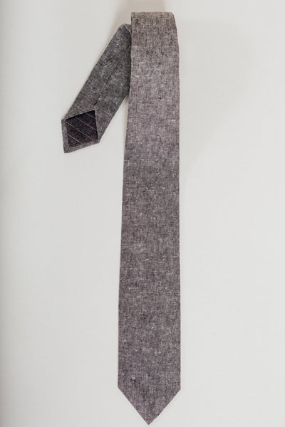 Charcoal Linen Chambray Riley Tie