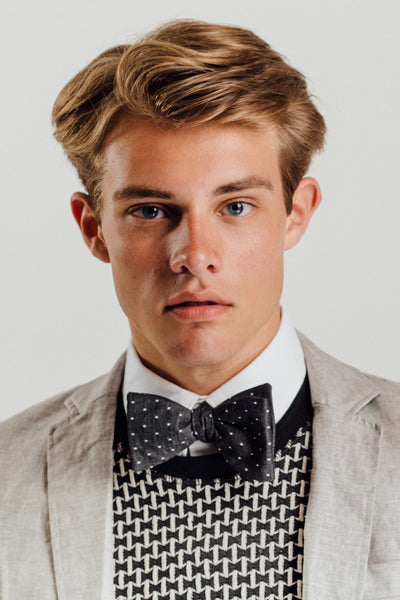 Dark Grey Polka Dot Murphy Bowtie