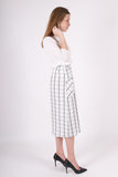 Glenda Gathered Skirt | Windowpane Ivory