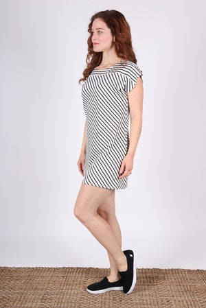 Bateau Shift Dress | Ivory/Grey Stripe
