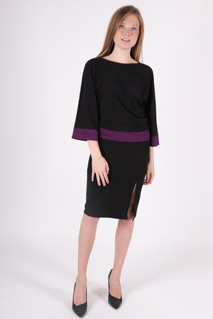 Two Tone Dolman | Black/Aubergine