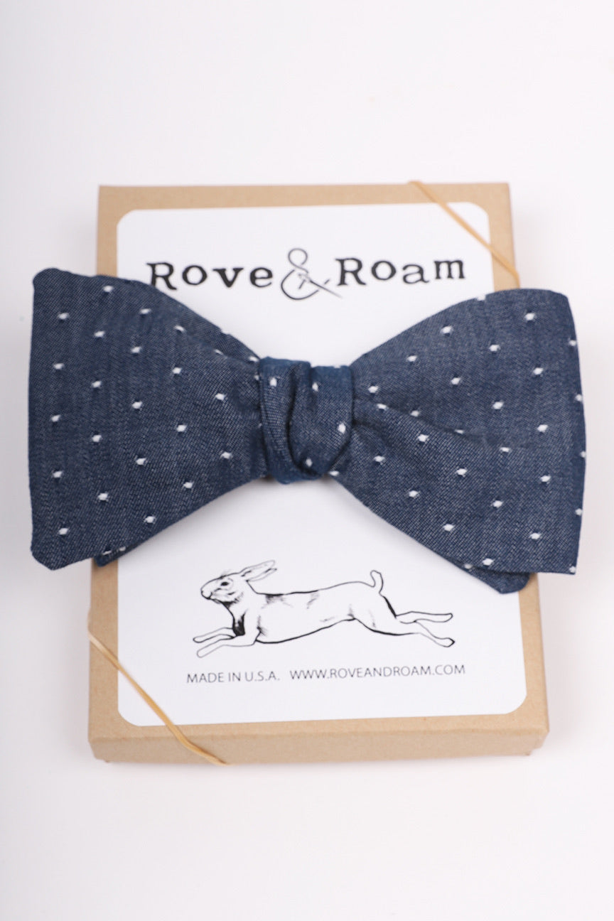 Murphy Bow-tie | Navy Jacquard Dot | Matching Mask Option