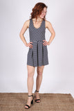 Natalie V-Neck Dress | Navy/Ivory Stripe