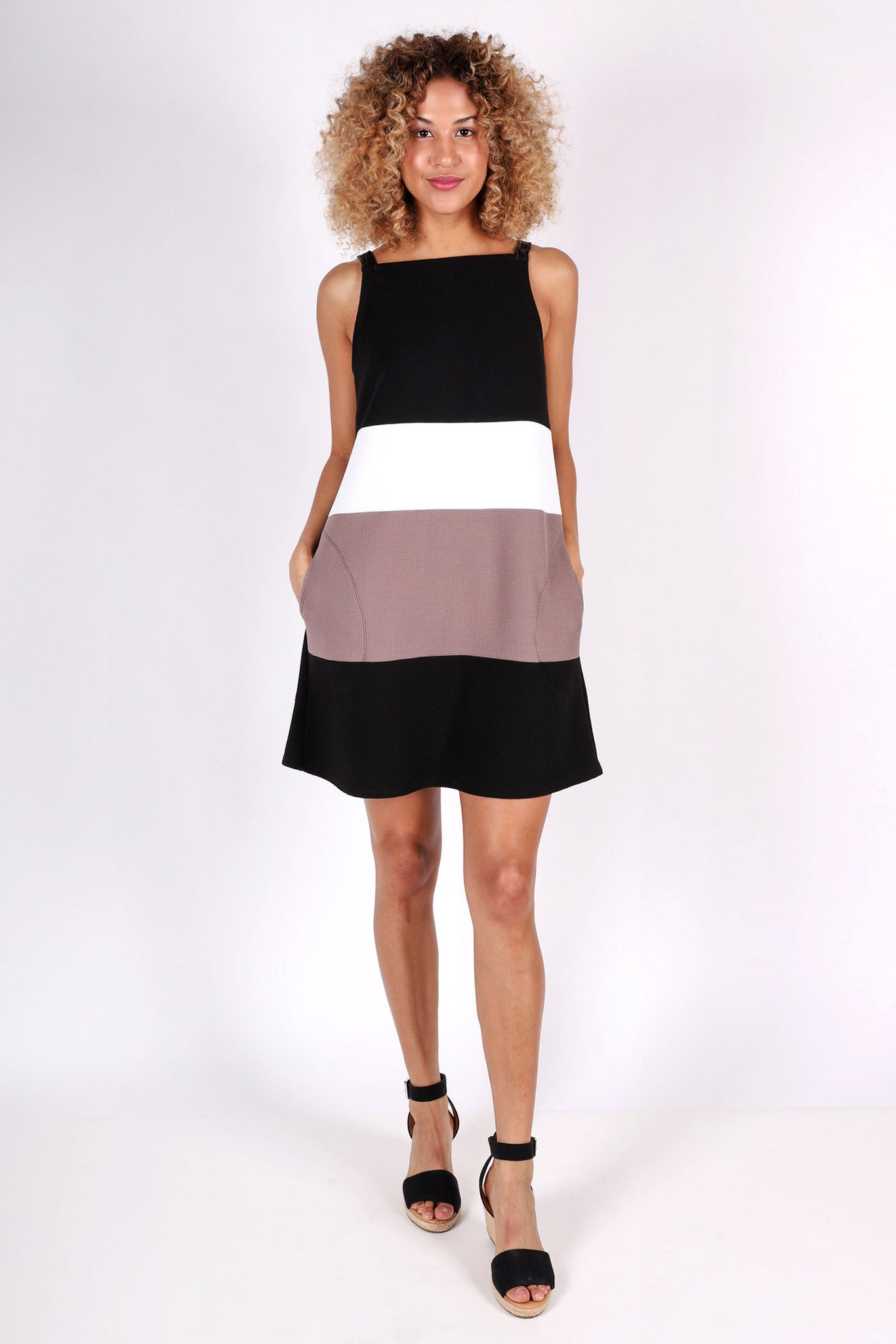 Sadie Color-Blocked Dress | Black