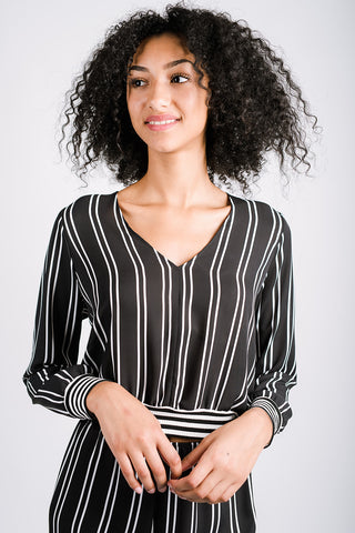 Betty Blouson with Long Sleeved | Railroad Stripe