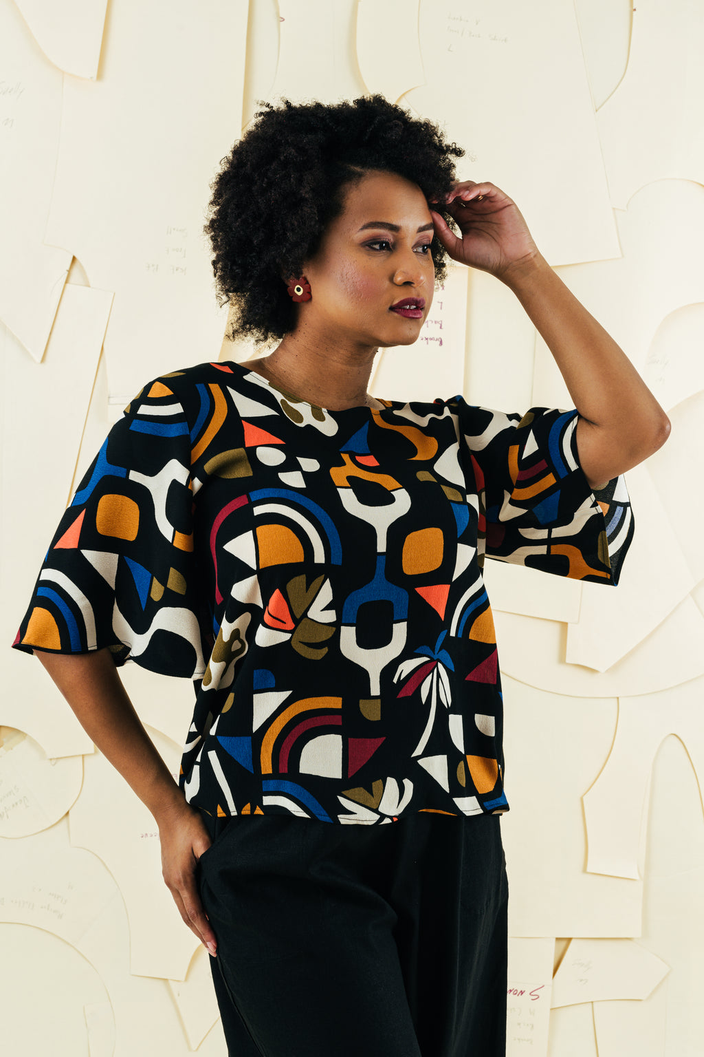 Hayley Bell Sleeve Top | Adventure Print