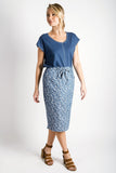 Sally Draw-String Skirt | Printed Chambray