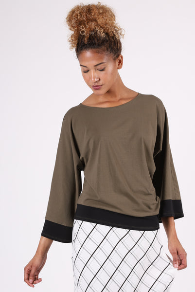 Two Tone Dolman | Olive/Black