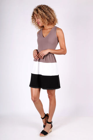Natalie Color-Block Dress | Taupe