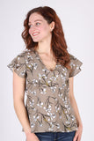 Empire Flutter Top | Taupe Floral
