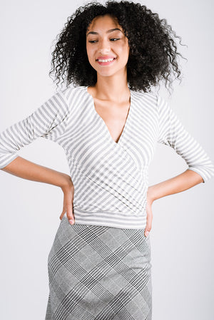 Cross My Heart Top | City Stripe Grey