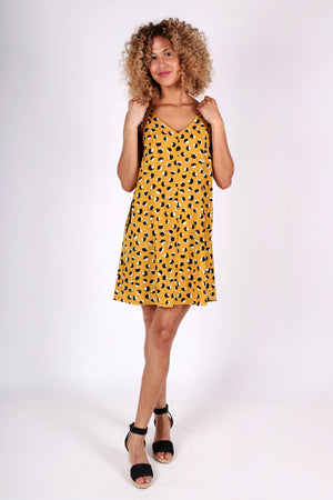 Latitude Dress | Mustard Dot