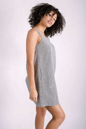 Latitude Shift Dress | Grey Stripe