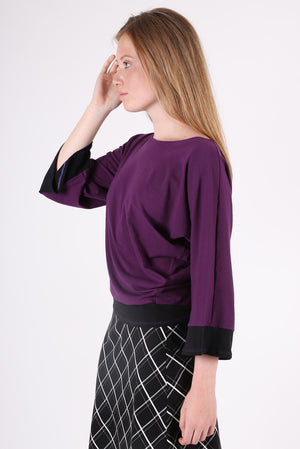 Two Tone Dolman | Aubergine/Black