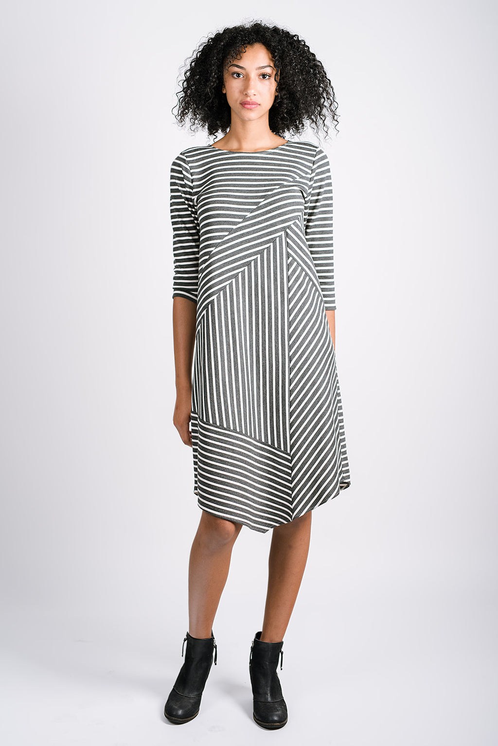 In All Directions Dress | Marine Stripe Charcoal