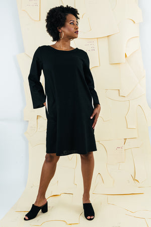 Village Bell Sleeve Dress | Black | Chestnut |Steel
