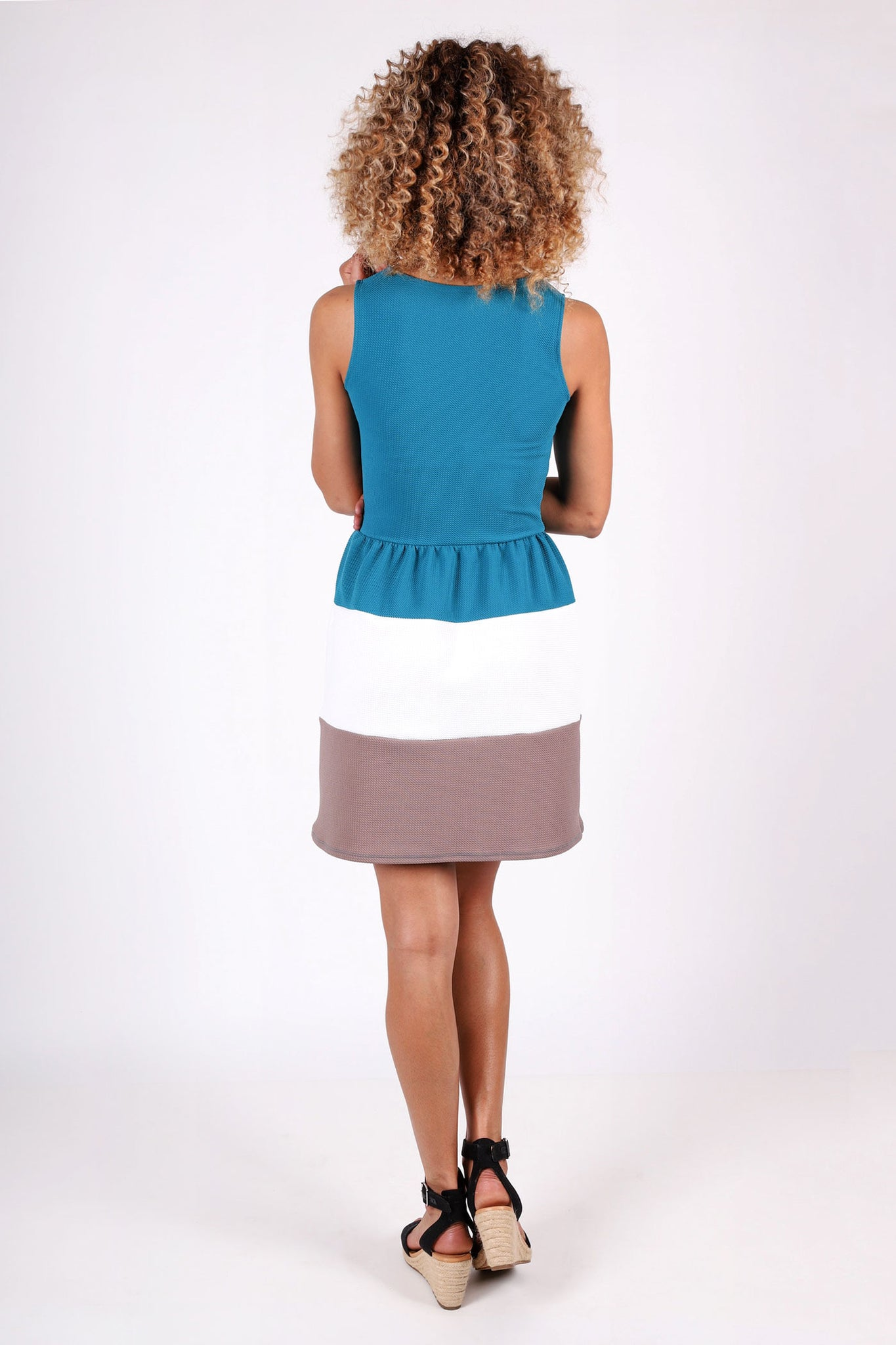 Natalie Color-Block Dress | Teal
