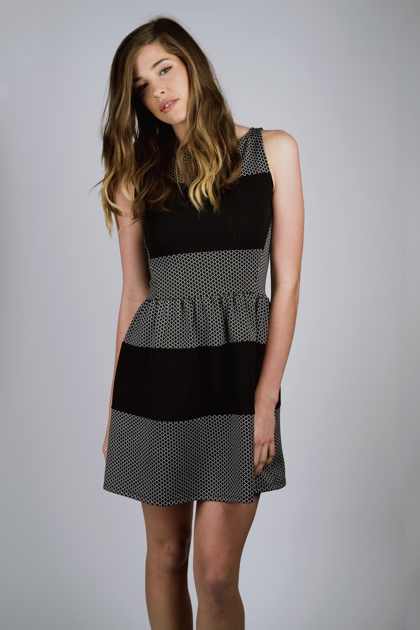 Black and White, Geometric Print, Striped Party Dress