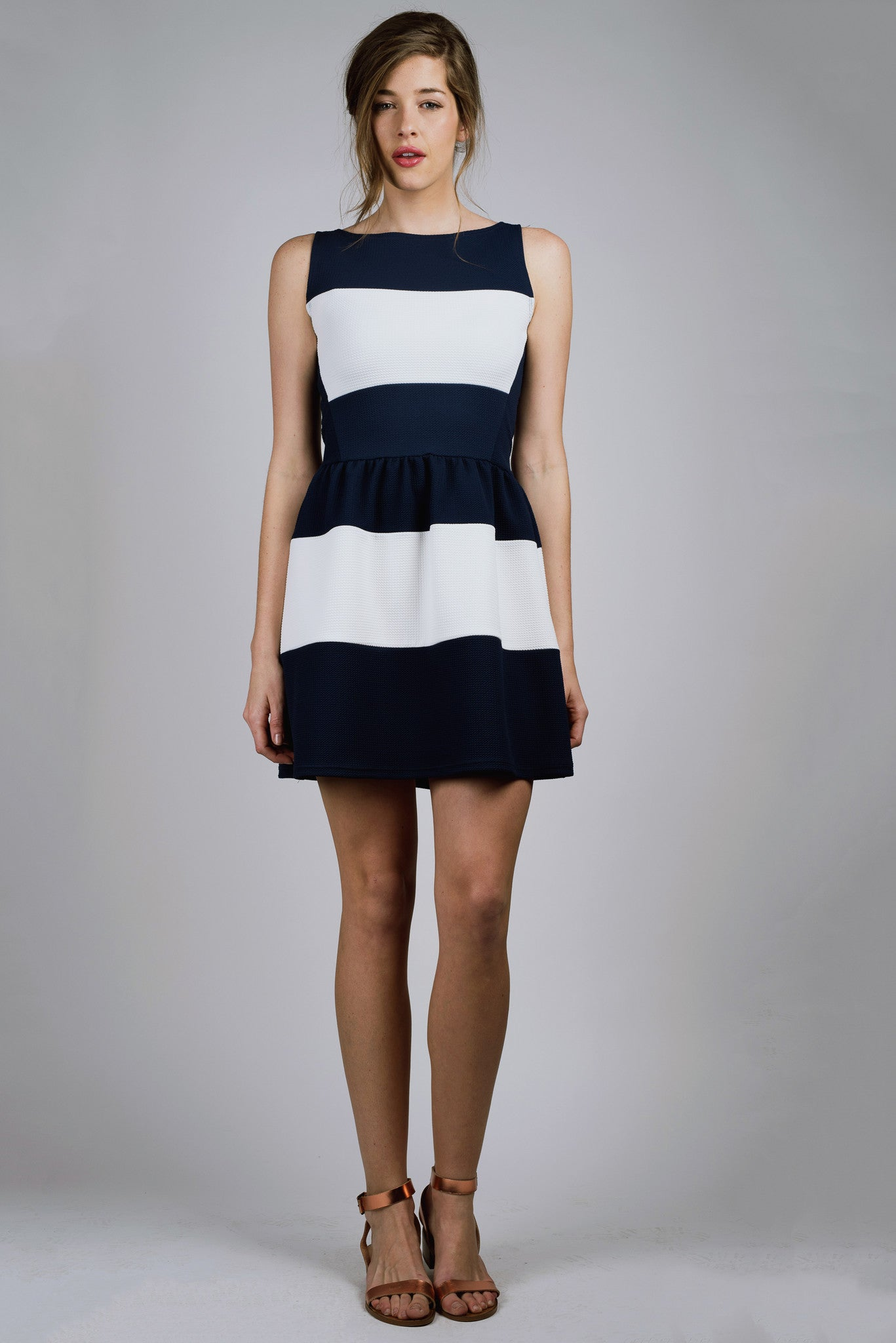 Navy and White, Geometric Print, Striped Party Dress, Spring