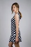 Navy White Polka Dot, Vintage, Flirty Dress perfect for Party, Wedding and Special Occasion