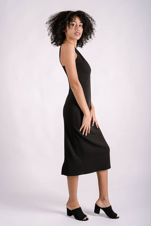 Lana Plunge V Midi Dress | Black