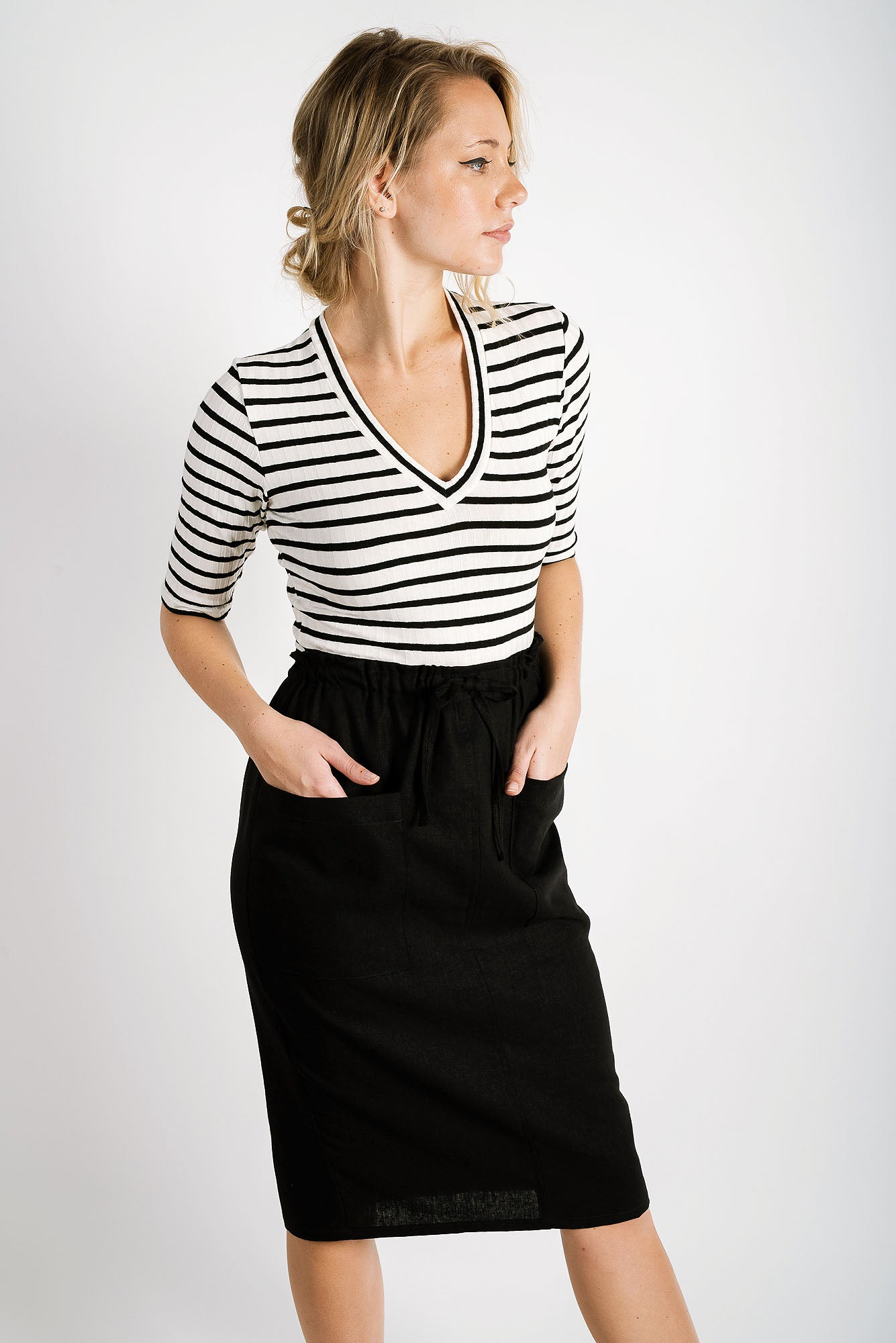 Sally Drawstring Skirt | Black