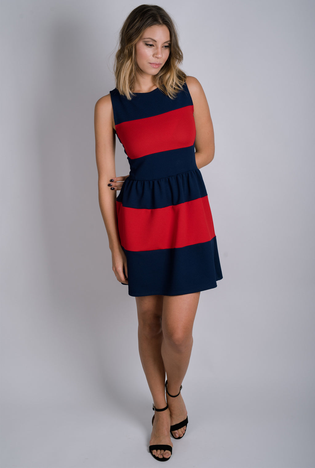 Marianne Fit and Flare Dress | Navy/Red